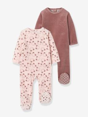 Baby-Pyjamas-Pack of 2 Velour Pyjamas, Press Studs on the Back