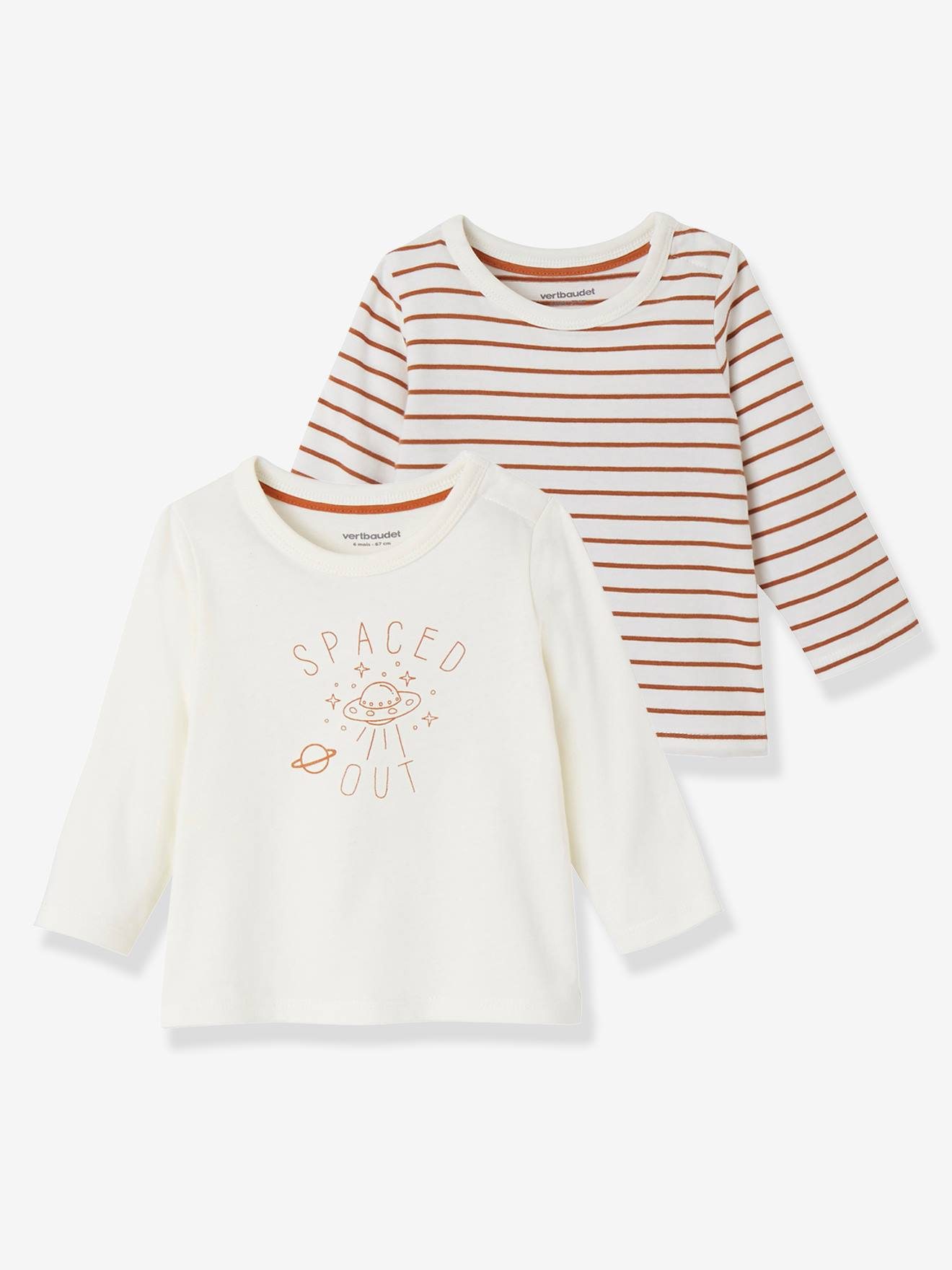 288a61aba Pack of 2 Baby Girls' Long-Sleeved T-Shirts - brown light 2 color/multicol …
