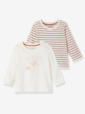 Vertbaudet Sale-Baby-T-shirts & Roll Neck T-Shirts-Pack of 2 Baby Girls' Long-Sleeved T-Shirts