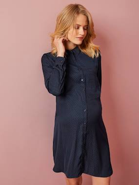 Maternity-Maternity Shirt Dress in Stylish Fabric