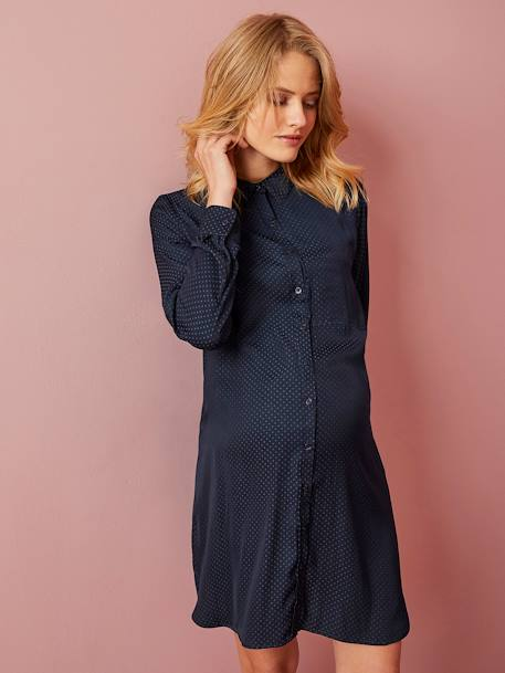 Maternity Shirt Dress in Stylish Fabric BLUE DARK ALL OVER PRINTED - vertbaudet enfant