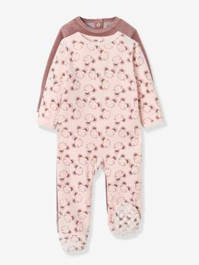 Vertbaudet Collection-Pack of 2 Velour Pyjamas, Press Studs on the Back