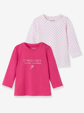 Baby-T-shirts & Roll Neck T-Shirts-T-shirts-Pack of 2 Tops with Message, for Baby Girls