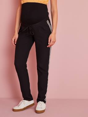 Vertbaudet Sale-Maternity-Maternity Trousers with Stripes Up the Sides