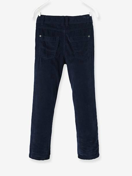 Boys' Straight Cut Velvet Trousers BLUE MEDIUM SOLID+GREY DARK SOLID - vertbaudet enfant