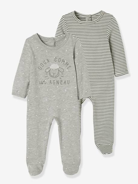 Pack of 2 Velour Pyjamas for Babies, Press Studs on the Back GREY LIGHT TWO COLOR/MULTICOL - vertbaudet enfant
