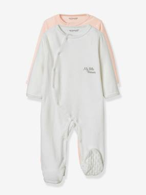 Baby-Pyjamas-Pack of 2 Organic Velour Pyjamas for Babies, Press Studs on the Front