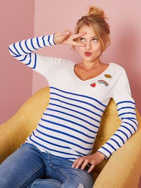 Maternity-T-shirts & Tops-Maternity Sailor-Style Top with Embroidered Patches