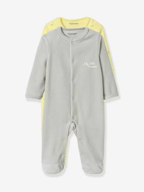 Vertbaudet Sale-Baby-Pyjamas-Pack of 2 Organic Velour Pyjamas for Babies, Press Studs on the Front