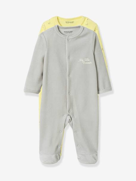Pack of 2 Organic Velour Pyjamas for Babies, Press Studs on the Front YELLOW LIGHT 2 COLOR/MULTICOL - vertbaudet enfant