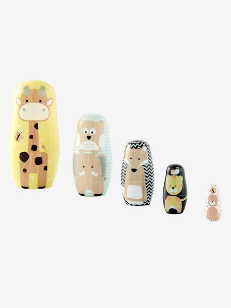 Wooden Animal Nesting Dolls BLUE MEDIUM TWO COLOR/MULTICOL+PINK MEDIUM 2 COLOR/MULTICOL+WHITE MEDIUM 2 COLOR/MULTICOL - vertbaudet enfant