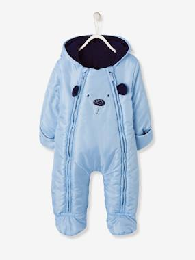 Baby-Outerwear-Baby Lined & Padded All-in-One with Face Motif
