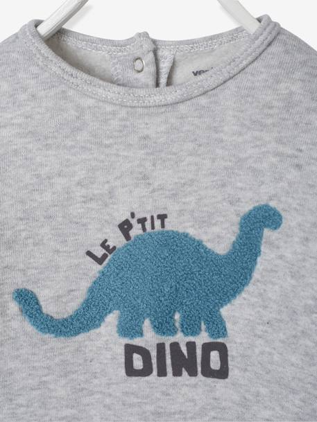 Fleece Pyjamas with Press-Studs on the Back, for Babies GREY LIGHT MIXED COLOR - vertbaudet enfant