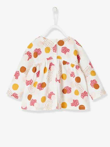 Baby Girls' Printed Blouse WHITE BRIGHT ALL OVER PRINTED+WHITE MEDIUM ALL OVER PRINTED - vertbaudet enfant