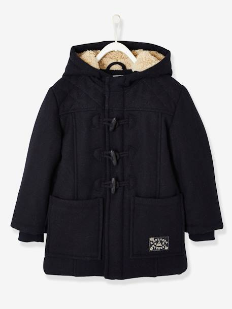 Boys' Duffle-Coat with Fleece Lining BLUE DARK SOLID WITH DESIGN+GREY DARK SOLID - vertbaudet enfant