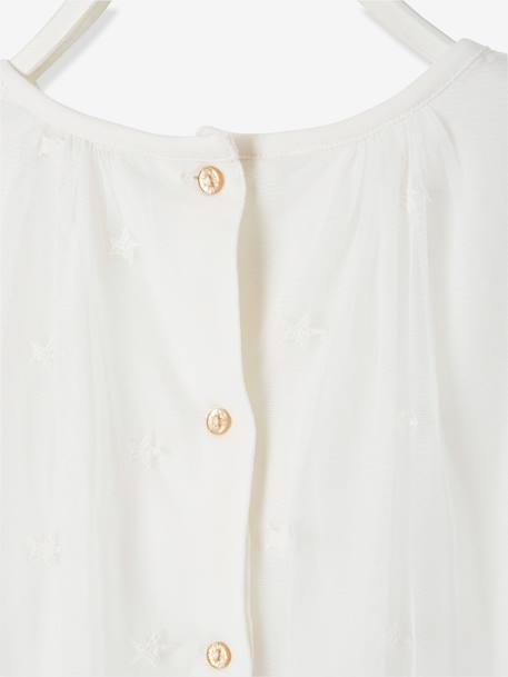Blouse for Girls in Star-Embroidered Tulle WHITE LIGHT SOLID WITH DESIGN - vertbaudet enfant