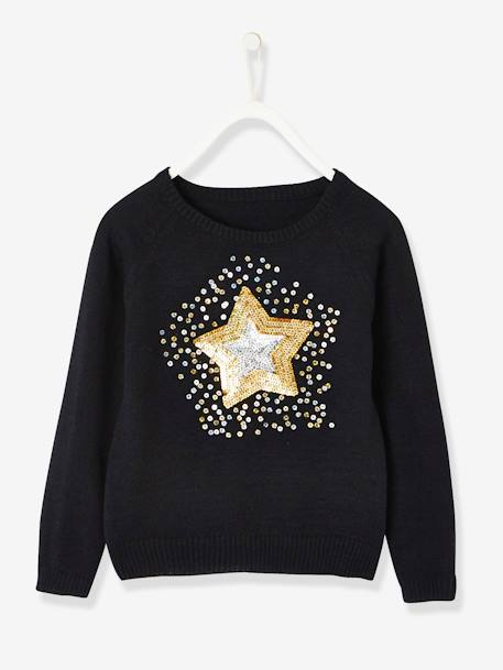 Magic Star Gift Set for Girls: Jumper with Sequins + Headband BLACK DARK SOLID WITH DESIGN - vertbaudet enfant