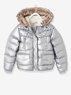 Vertbaudet Sale-Girls-Down Jacket with Star Print for Girls