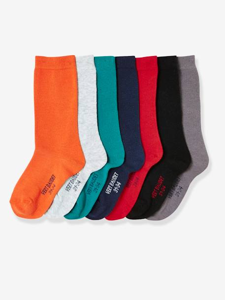 Lot de 7 paires de chaussettes garçon LOT EMERAUDE+Lot orange grisé - vertbaudet enfant