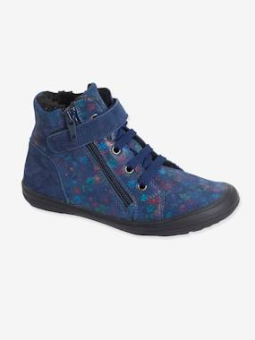 Vertbaudet Sale-Shoes-High-Top Lined Leather Trainers for Girls