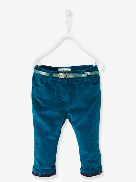 Baby Girls' Lined Velour Trousers & Belt GREEN DARK SOLID+GREY DARK SOLID+RED DARK SOLID - vertbaudet enfant