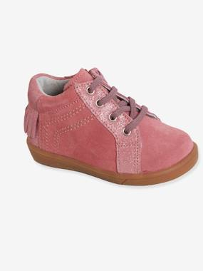Shoes-Baby Footwear-Leather Boots with Laces for Girls