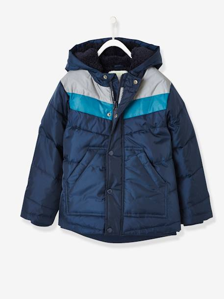 Three-Tone Down Jacket with Reflective Details, for Boys BLUE DARK SOLID WITH DESIGN+RED DARK SOLID WITH DESIGN - vertbaudet enfant