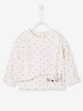 Baby-Cardigans & Sweaters-Sweatshirt with Print and Frills, for Baby Girls