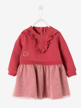 Vertbaudet Sale-Baby-Fleece & Tulle Dress for Baby Girls
