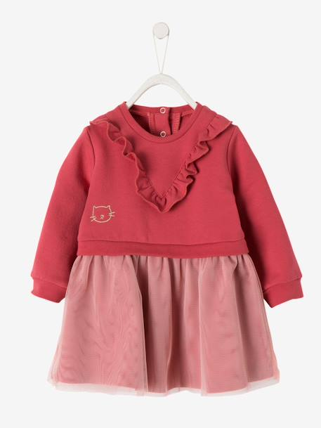 Fleece & Tulle Dress for Baby Girls PINK DARK SOLID WITH DESIGN - vertbaudet enfant