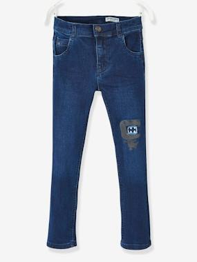 Vertbaudet Sale-Boys-Jeans-Embroidered Stretch Jeans for Boys