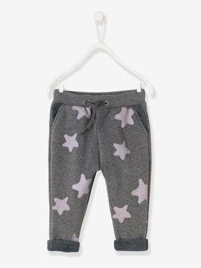 Baby-Trousers & Jeans-Fleece Trousers with Stars for Baby Boys