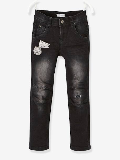 MEDIUM Hip, Slim Leg Jeans for Boys BLACK DARK SOLID - vertbaudet enfant