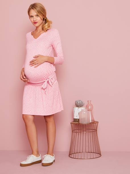 Smocked Waist Maternity Dress BLACK DARK SOLID+PINK LIGHT ALL OVER PRINTED - vertbaudet enfant