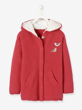 Girls-Cardigans, Jumpers & Sweatshirts-Long Hooded Cardigan, Lined, for Girls