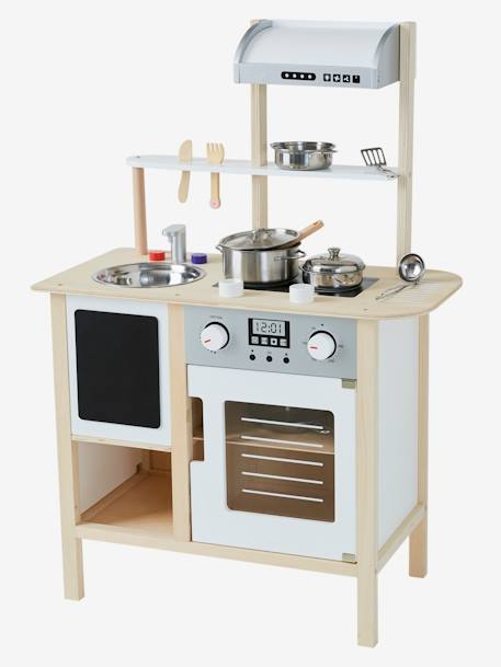 Large Wooden Kitchen + Kitchen Trolley WHITE BRIGHT SOLID WITH DESIGN - vertbaudet enfant