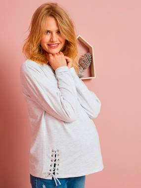 Vertbaudet Sale-Maternity-Nightwear & Loungewear-Fleece Maternity Jumper with Lacing