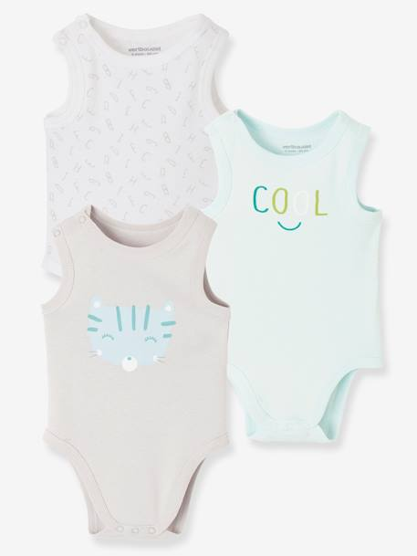 Baby Pack of 3 Sleeveless Bodysuits BLUE LIGHT TWO COLOR/MULTICOL - vertbaudet enfant
