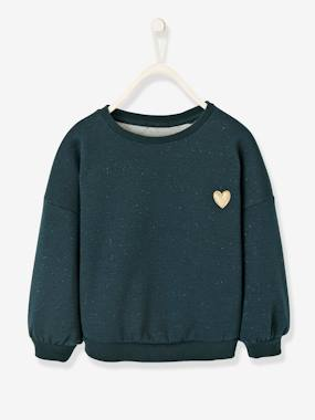 Vertbaudet Sale-Girls-Cardigans, Jumpers & Sweatshirts-Sweatshirt in Iridescent Fleece with Glitter for Girls