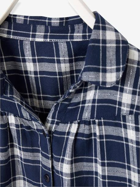 Iridescent Plaid Shirt for Girls BLUE DARK CHECKS+PINK LIGHT CHECKS - vertbaudet enfant