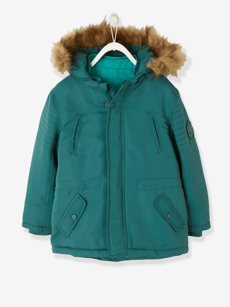 4-in-1 Parka with Fleece Lining for Boys BLUE DARK SOLID+GREEN DARK SOLID+GREY DARK SOLID+RED MEDIUM SOLID - vertbaudet enfant
