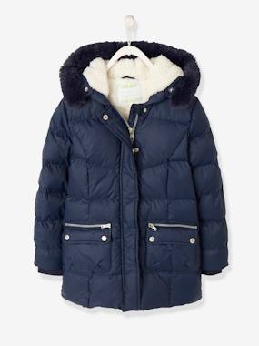 Vertbaudet Collection-Girls-Down Coat with Hood for Girls