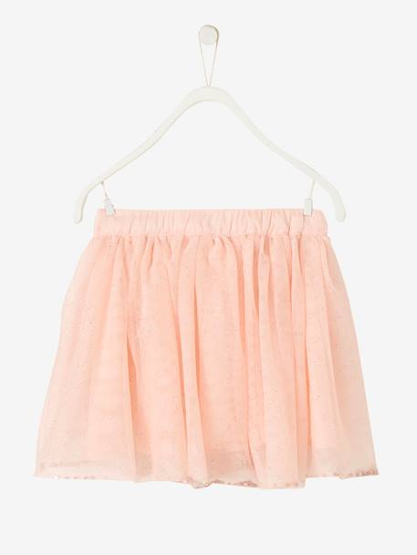 Girls Glitter Skirt BLACK DARK ALL OVER PRINTED+PINK LIGHT ALL OVER PRINTED+Printed iridescent beige+Printed white - vertbaudet enfant