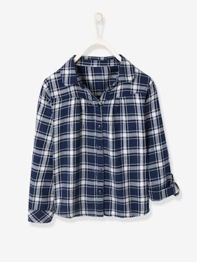 Girls-Blouses, Shirts & Tunics-Iridescent Plaid Shirt for Girls