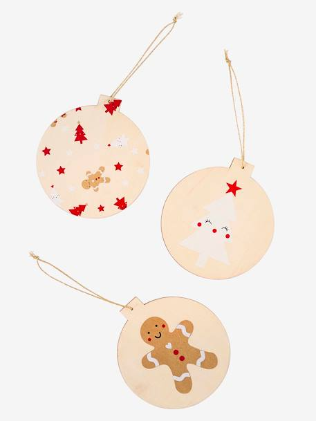 Christmas Baubles.3 Flat Christmas Baubles In Paper Beige Light Two Color Multicol Bedding Decor