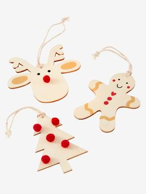 Vertbaudet Collection-Decoration-Set of 3 Wooden Christmas Decorations