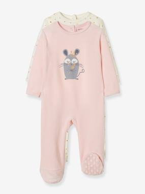 Schoolwear-Baby-Pack of 2 Velour Pyjamas, Press Studs on the Back