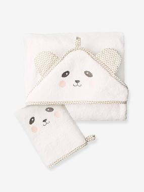 Bedding & Decor-Bathing-Bath Capes-Baby Hooded Bath Cape With Embroidered Animals