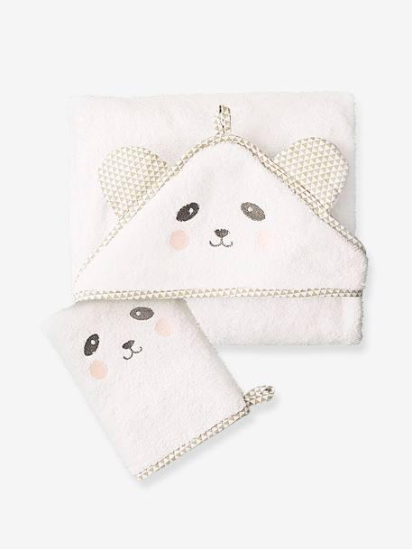 cape de bain b b capuche brod e animaux rose linge de lit. Black Bedroom Furniture Sets. Home Design Ideas