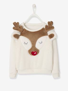 Festive favourite-Girls-Cardigans, Jumpers & Sweatshirts-Christmas Sweatshirt with Plush Reindeer Head for Girls